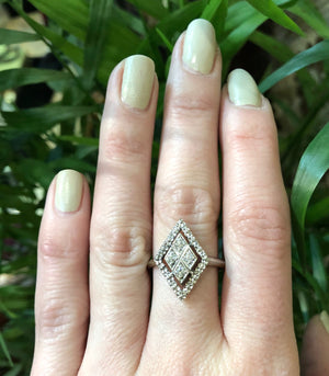 Flowers and Navettes and Diamonds Vintage Ring