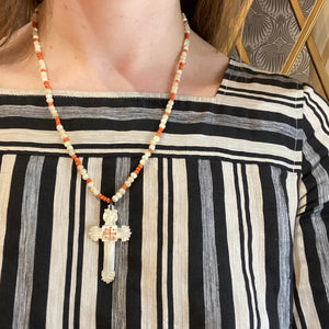 Antique Mother of Pearl Cross Beaded Necklace