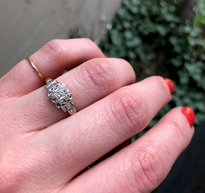 Romantic 1930's Diamond Band in Platinum and 18K