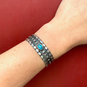 Child's Charming Cuff Bracelet in Silver & Turquoise