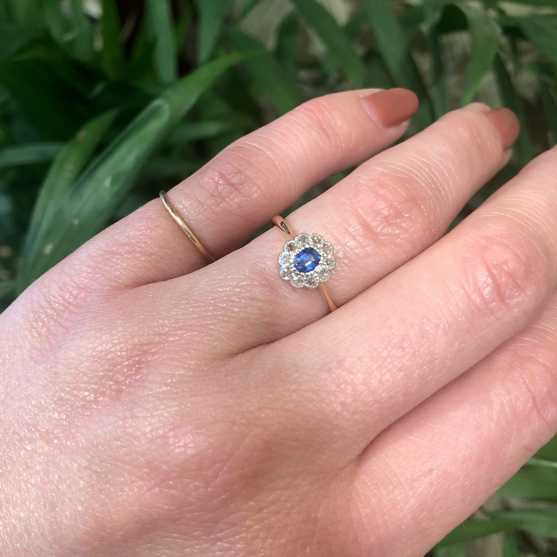 Vintage Sapphire and Diamond Halo Engagement Ring