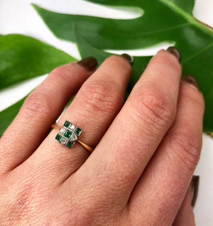 Vintage Emerald and Diamond Deco Ring