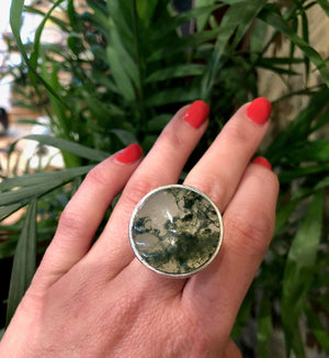 The Most Amazing Moss Agate Modernist Silver Ring