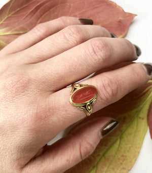 20k Antique Gold Ring with Carnelian Hunting Dog Intaglio