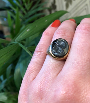 1960's Gold Ring with Hematite Roman Soldier Intaglio