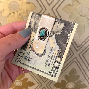 Vintage 1970's Silver and Turquoise Money Clip