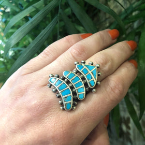 The Temple Vintage Turquoise and Silver Ring