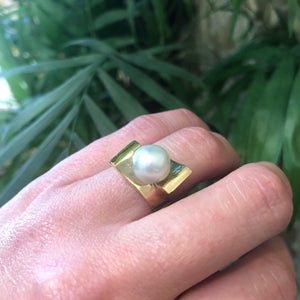 The 1970's Gold and Pearl Statement Ring