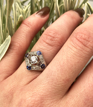 Platinum Diamond and Sapphire Edwardian Ring
