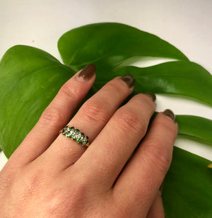 Green Garnet and OMC Diamond Ring