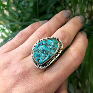 Bold Vintage Turquoise and Sterling Ring by Cortez