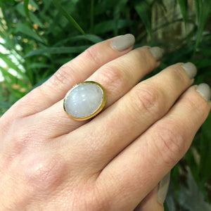 Beautifully Simple Vintage Gold Lavender Jade Ring