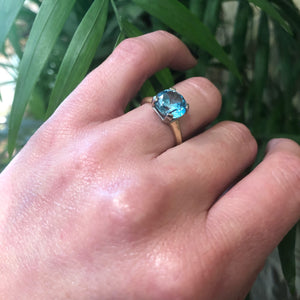 Big Blue Zircon Solitaire Engagement Ring