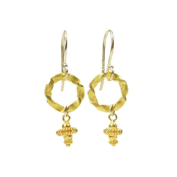 Twisted O Earrings by Brunet with 22k embellishment