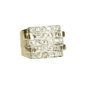 retro wide gold band set with 26 rose cut diamonds