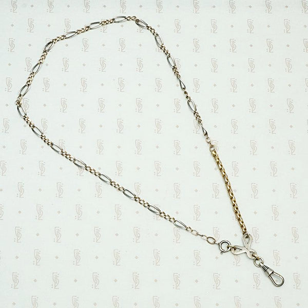 Elaborate Niello Striped Silver and Gold Married Chain