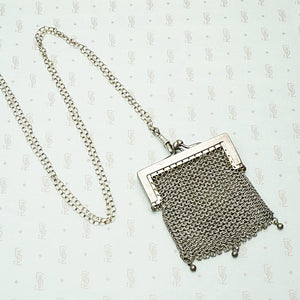 The Vienna Sterling Silver Chain Mail Purse Necklace