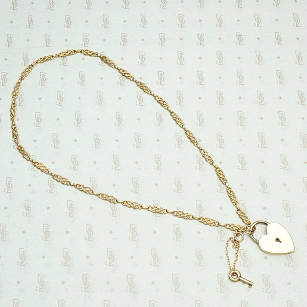 Sweet Rosy Love Knot & Heart Lock Necklace