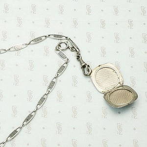 Subtly Graphic Silver and Niello Enamel Chain & Locket