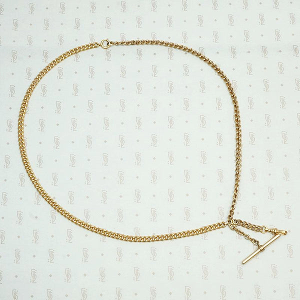 Heavy Curb Chains Necklace with Watch Hook & T-Bar