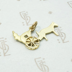 Gold Horse & Carriage Charm with Turning Wheels