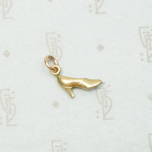 Vintage High Heeled Pump Gold Charm