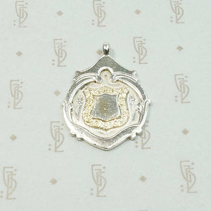 Engraved Gold on Silver English Medal Fob