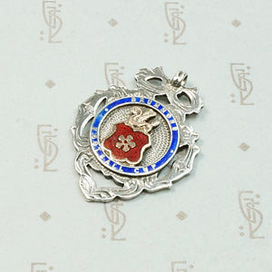 Colorful Enameled Silver Football Medal Fob