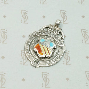 Manchester Coat of Arms Sterling & Enamel Medal Fob