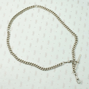 WWI Era English Sterling Curb Married Chain Necklace