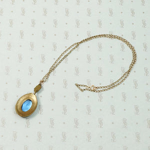 Beautiful Blue Glass & Brass Necklace