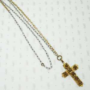 rose covered cross on a sterling and brass chain recycled
