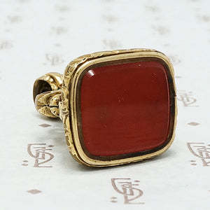 Pretty Victorian Fob in the French style set with a Carnelian