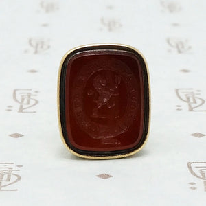 Gold Victorian Carved Carnelian Seal Fob in Neoclassical Style