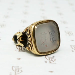 Rose adorned Early 19th c Gold Chalcedony Seal Fob