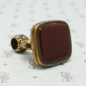 Ornate 1850s Fob 14k set with Carnelian