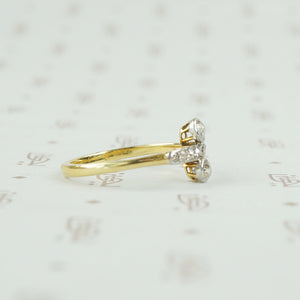 side view plat and 18k diamond ring
