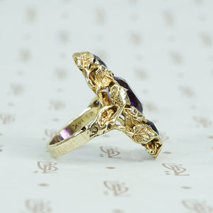 walton and co 3 amethyst ring 14k green gold and leaves arts and crafts era