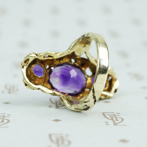walton and co 3 amethyst ring 14k green gold and leaves arts and crafts era side view
