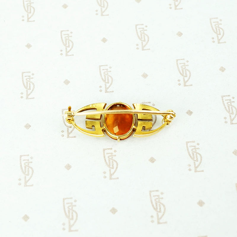Arts & Crafts Gold and Citrine Brooch