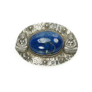 Arts and Crafts Era Sash Pin in Sterling with Lapis