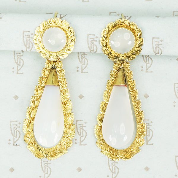 day and night white agate and gold earrings