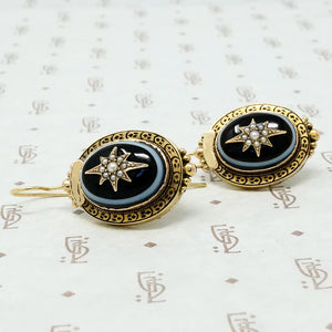 Elegant Banded Agate Star Set 18k Earrings