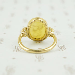 back view of agate and gold ring