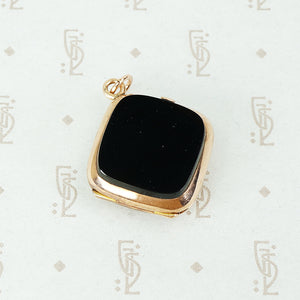 double sided agate locket in 14k rose gold onyx side