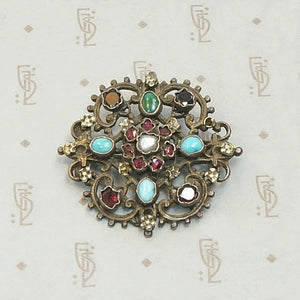 Colorful Gemstone Austro-Hungarian Brooch