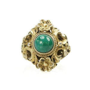 Vintage Austro Hungarian Ring Silver Gilt set with Turquoise