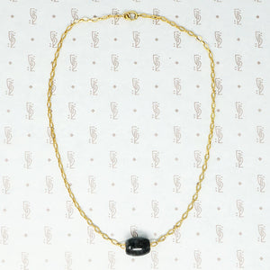black jade bead on 14k vintage chain necklace