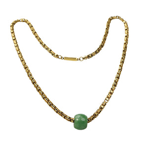 Recycled Necklace of 15k Yellow Gold and Jade
