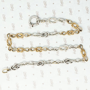 silver and gold filled lovers knot chain with extra big ring